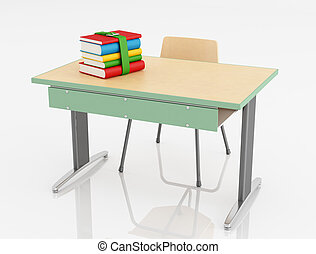 School desk and chair with stack of book isolated -...