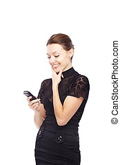 SMS - Joyful lady holding cell phone and sending SMS