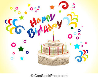 abstract birthday card with cake vector illustration