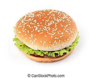 sabroso, hamburguesa, aislado, blanco, Plano de fondo