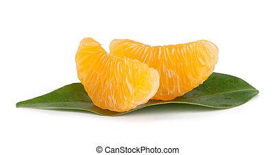Mandarin citrus fruit slices isolated on white