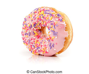 Pink Iced Doughnut covered in sprinkles isolated oover white...