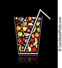 mélange, fruit, jus, verre, ton, conception