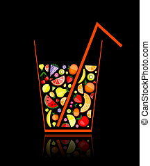 Mix of fruit juice in glass for your design