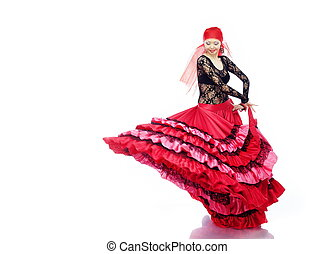 Flamenco - Smiling lady dancing Flamenco in traditional...