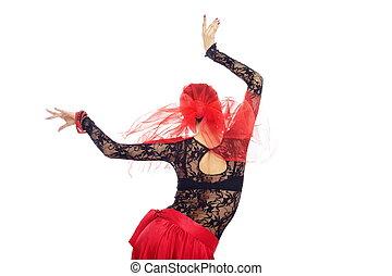 Back of flamenco dancer