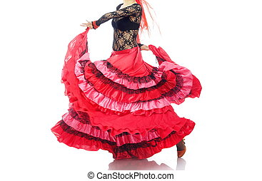 Flamenco - Woman in the red petticoat dancing flamenco