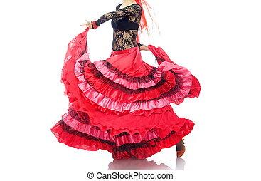 Flamenco - Woman in the red petticoat dancing flamenco