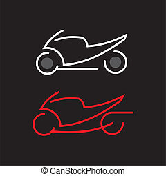 Motorbike icon - Motorcycle - vector icon. Outline on black....