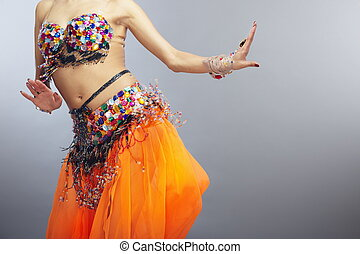 Belly dance - Moving torso of the woman dancing belly dance