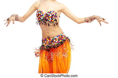Belly dancer - Woman body dancing belly-dance in orange...