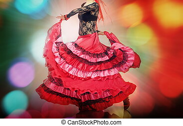 Flamenco - Woman dancing flamenco on background with disco...