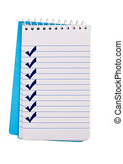 Creating a Checklist - A small notepad with check marks,...