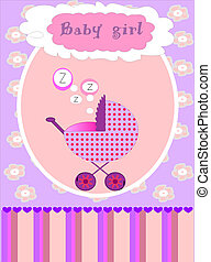 Vector card for baby girl