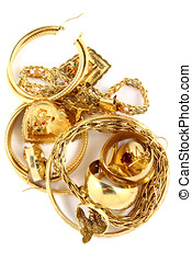 Gold Jewelry - Vertical,Gold ladies jewelry isolated on...