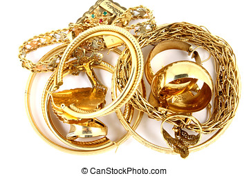 Gold Jewelry - Gold ladies jewelry isolated on white...