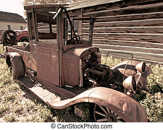 Rusted Truck - An old rusted Ford truck sits on a farm...