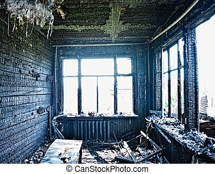 burned interior - old abandoned burned interior photo