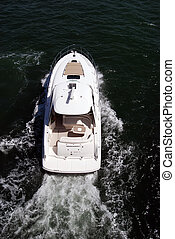 Cabin Cruiser on Biscayne Bay - Overhead view of a luxury...