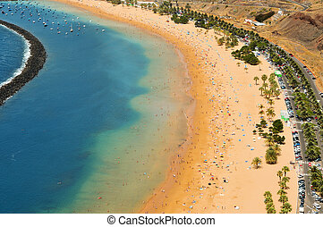 Teresitas Beach in Tenerife, Canary Islands, Spain - Aerial...