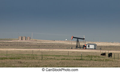 Pumpjack - Oil pumpjack on the field in Cheyenne,  WY.