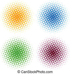 Colorful halftone dots - vector illustration