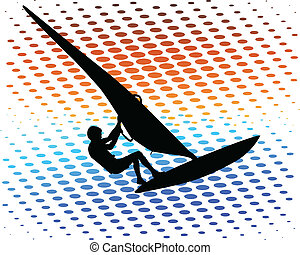 Windsurfer on the abstract background - vector