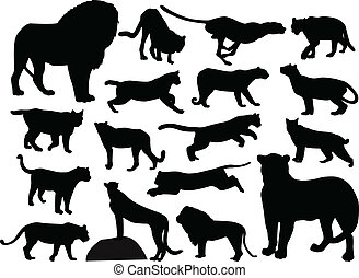 Wild cats silhouettes collection - vector