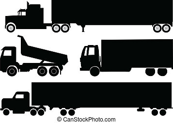 Trucks silhouettes collection - vector