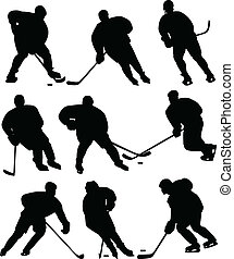 Ice hockey players silhouettes - vector