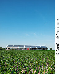 Farm and solar panel - Farm in Germany with roof solar panel...