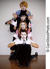mime  - four mime actors in action