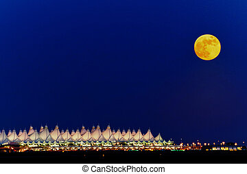 Full Moon - Full moon over the Denver International Airport...