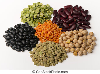 different species of legumes in groups, isolated on white