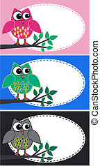 owls - three different owl illustrations