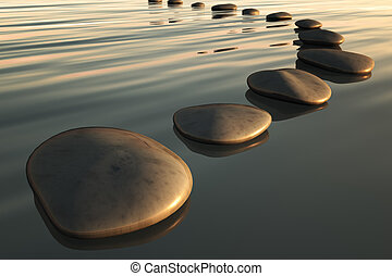 step stones sunset - An image of some step stones to the...
