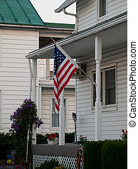 American flag - Downtown of Linglestown, Pennsylvania during...