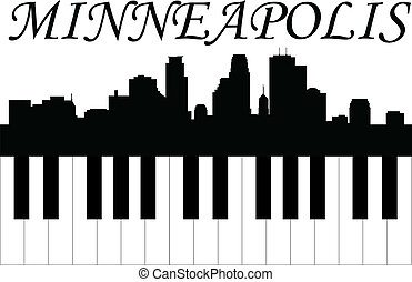 Minneapolis music - Minneapolis  skyline with piano keys