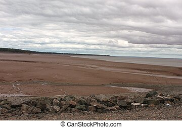 Bay of Fundy at low tide on a cloudy day Bass River Nova...