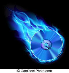 Burning blue CD. Illustration on black background for design