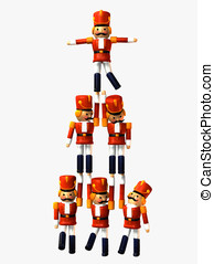 Toy Soldier Pyramid - Wooden Toy Soldiers forming a Pyramid...