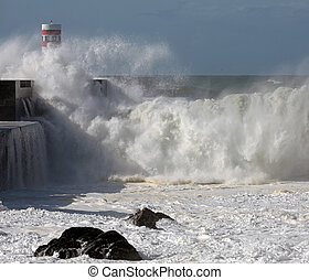 Tsunami - River Douro mouth in a stormy morning