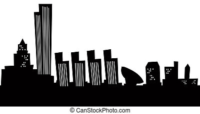 Cartoon Albany Skyline - Cartoon skyline silhouette of...