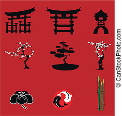 japanes elements set icons in vector format