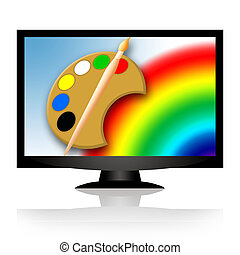 Technology and Art - Painting tools and rainbow in blue sky...