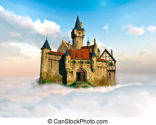 Castle in the clouds - Detailed Castle sits high above the...