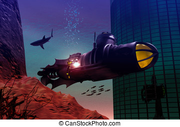 Undersea adventure - Nautilus style submarine rest under...