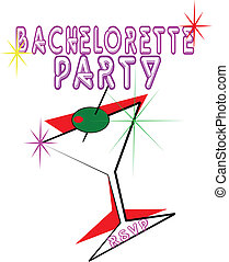 hen party - invitation to bachelorette party with martini...