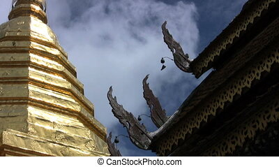 Temple Roof Decorations - A funky shot of a Buddhist temple...