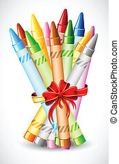 Bunch of Crayon - illustration of bunch of crayon tied with...